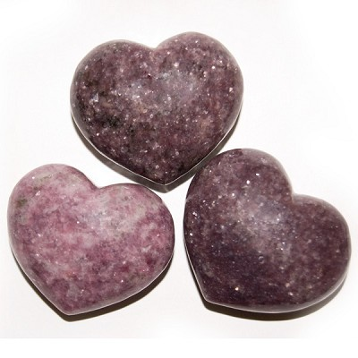 Puffy Heart Stones - Lepidolite (6)