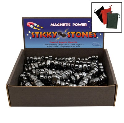 Magnetic Hematite Sticky Stones Display - Black (11 lb) w/ Gembags (60)