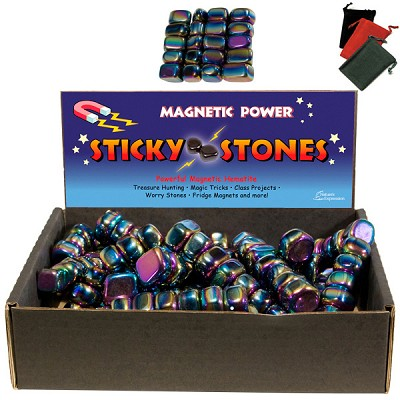 Magnetic Hematite Rainbow Sticky Stones w/ Gembags Display (11 lbs)