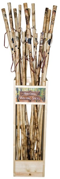 Hand Carved Wood Walking Stick Display - Assorted (20/display)