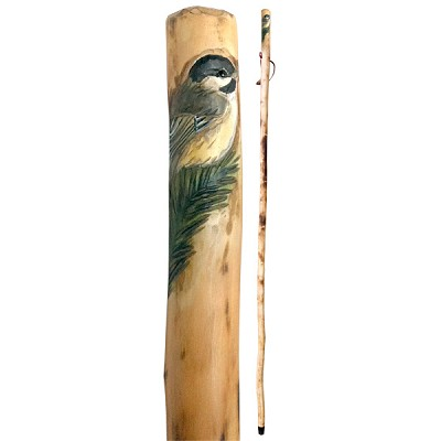 Hand Carved Wood Walking Stick - Chickadee (1.3 m) (2)