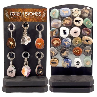 Totem Stone Keychain and Magnet Counter Display - Assorted (72/display)