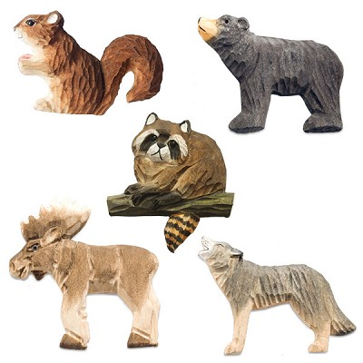 Hand Carved Wood Animal Magnets - Assorted (10)