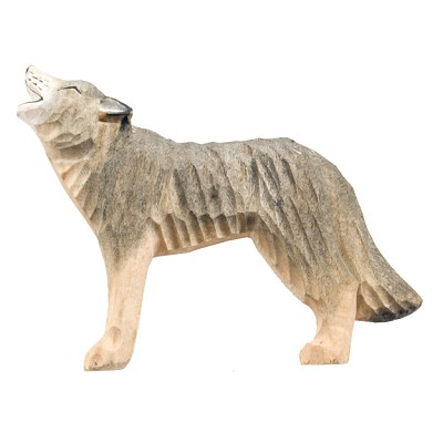 Hand Carved Wood Magnet - Wolf