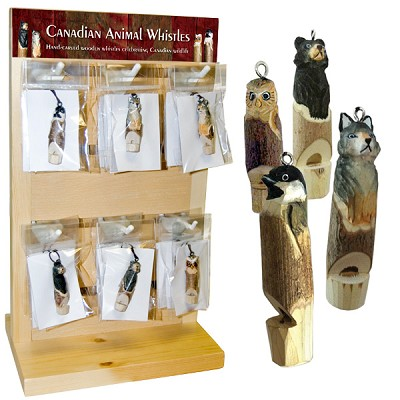 Hand Carved Wood Whistle Pendant - Assorted Display (36)