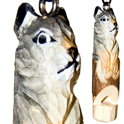 Hand Carved Wood Whistle Pendant - Wolf (2)
