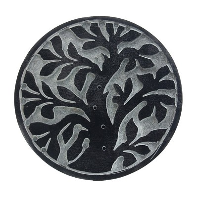Black Soapstone Round Incense Holders - Tree of Life (3)