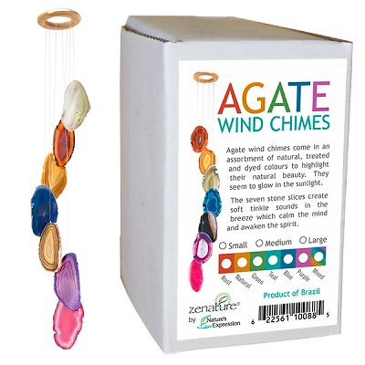 Zenature Agate Wind Chimes - Boxed (Small) Assorted (12)
