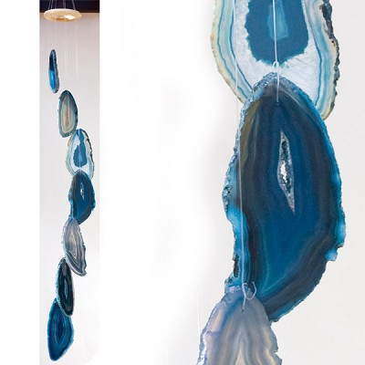 Agate Wind Chimes - (Small) Blue