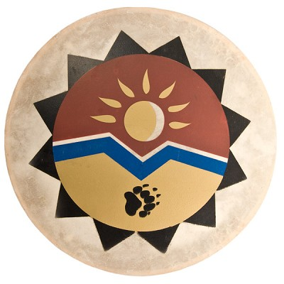Tribal Frame Drum - Sun and Bear Paw