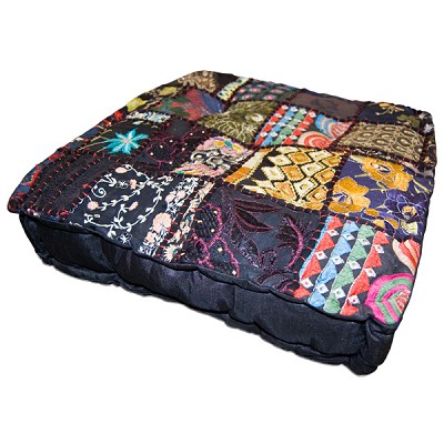 Square Khambadia Pattern Meditation Pillows - Black