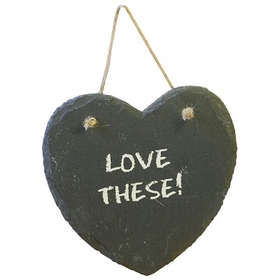Slate Chalkboards - Heart with chalk (12/Display)