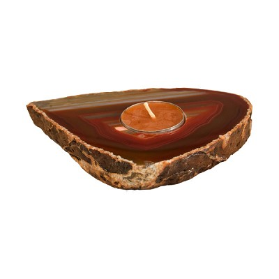 Agate Thick Slab Candle Holder - Red