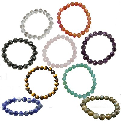 Gemstone Round Bead Bracelet - Assorted (12)