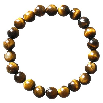 Gemstone Round Bead Bracelet - Gold Tigereye