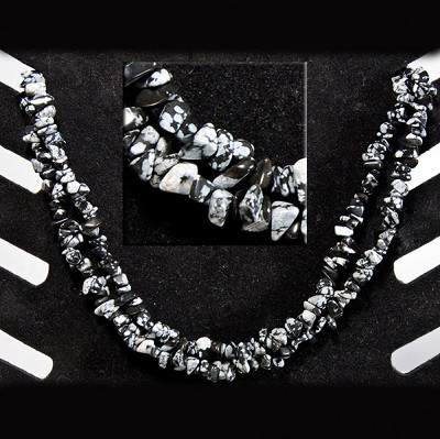 Gemstone Chip Necklace (36 inch) - Snowflake Obsidian