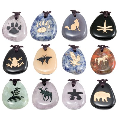 Totem Stone Pendants - Assorted (12)