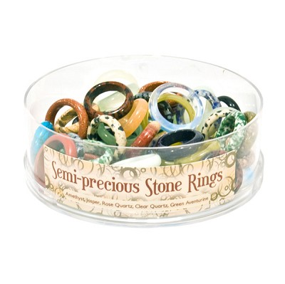 Stone Ring Display - Assorted Gemstones  (48/display)