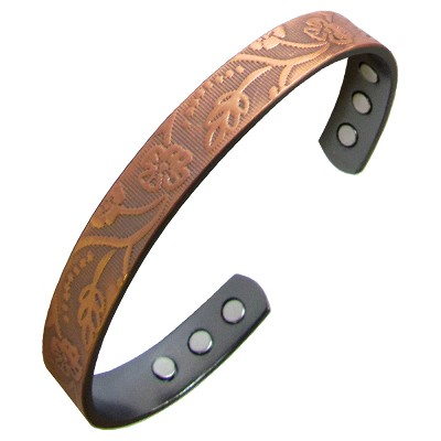 Magnetic Copper Bangle - Floral Vine