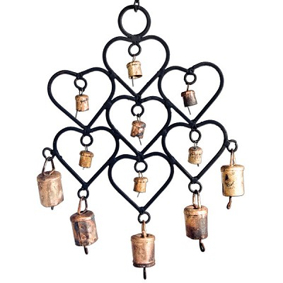 Rustic Cow Bells in Hearts Wind Chime (10 inch)