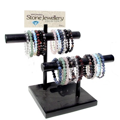 Bracelet Bar Display - Gemstone Faceted Assorted (27/Display)
