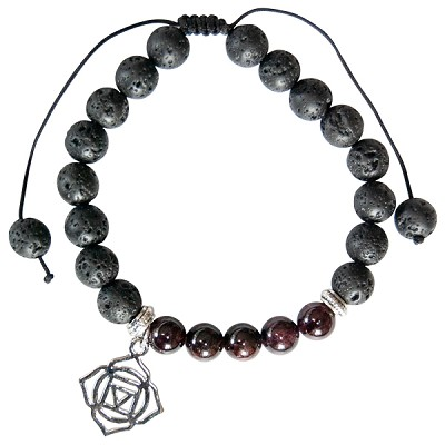 Lava and Garnet Bead Bracelet with Root Chakra Charm