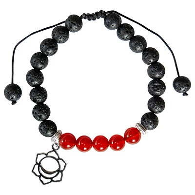 Lava and Carnelian Bead Bracelet with Sacral Chakra Charm
