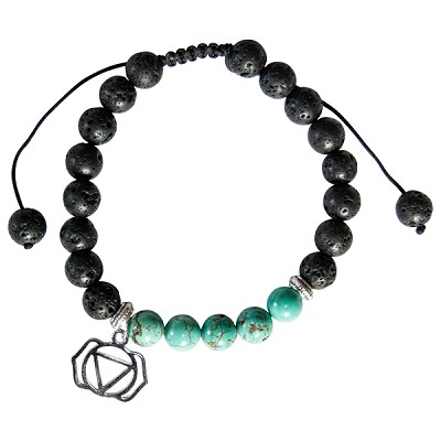 Lava and Turquoise Howlite Bead Bracelet with Throat Chakra Charm