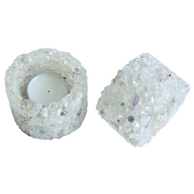 Chip Stone Candle Holder - Clear Quartz