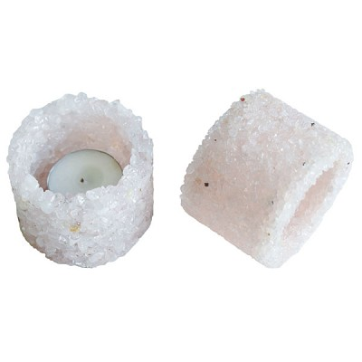 Chip Stone Candle Holder - Rose Quartz