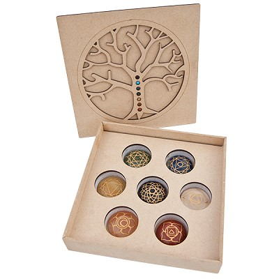 Chakra Engraved Stones in Laser Cut Box
