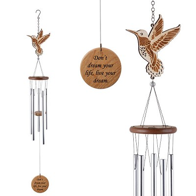 Laser Cut Wood Wind Chime - Hummingbird