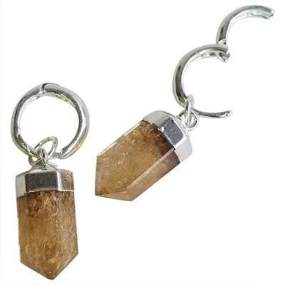 Crystal Faceted Point Earrings - Citrine