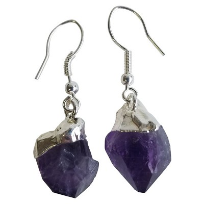Crystal Rough Point Earrings - Amethyst