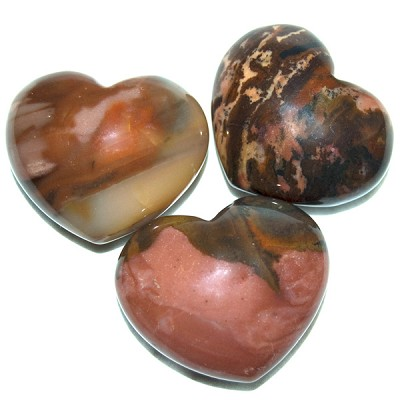 Puffy Heart Stones - Red Picture Jasper (6)
