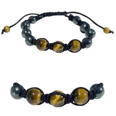 Gemstone Shamballa Bracelet Gold Tiger Eye Hemae