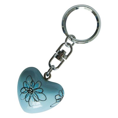 Harmony Heart Keychain - Light Blue - Flowers (6)