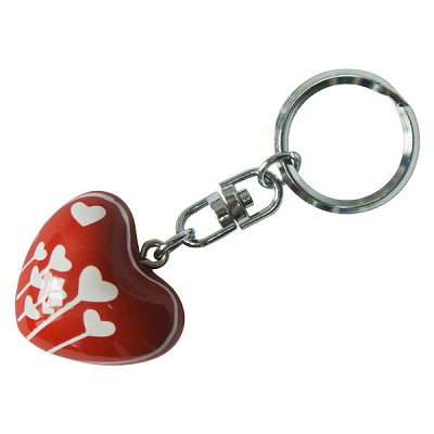 Harmony Heart Keychain - Red - White Heart Flowers (6)