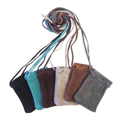 Leather Neck Pouch - Assorted Colours (12)