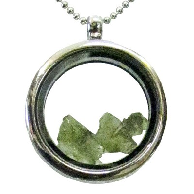 Glass Locket Necklace with Moldavite