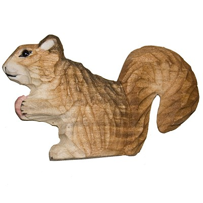 Hand Carved Wood Magnet - Squirrel