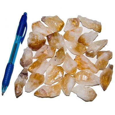 Mineral and Fossil Treasures - Citrine Points Rough (Size 1) (25 pcs)