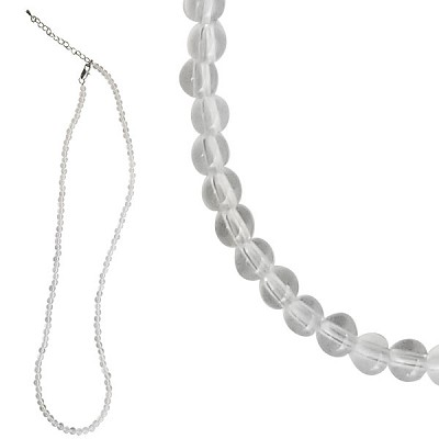 Gemstone 3 mm Round Bead Necklace (20 inch) - Clear Quartz