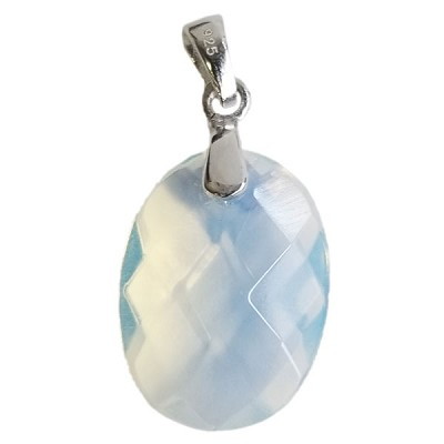 Faceted Oval Pendant - Opalite