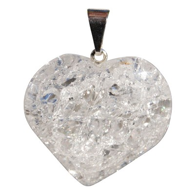 Gemstone Heart Pendant - Crackle Quartz