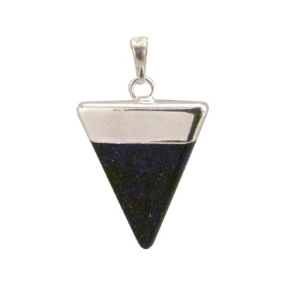Gemstone Triangle Pendant - Blue Goldstone