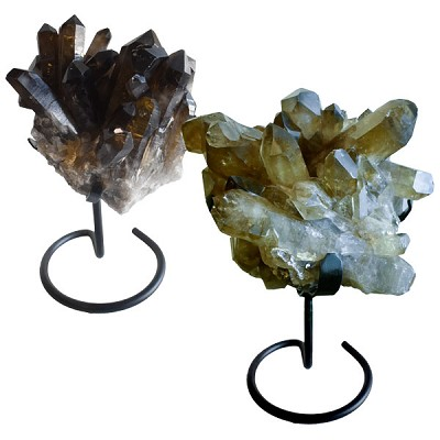 Decorator Crystal on Metal Base - Smokey Quartz Cluster XXL